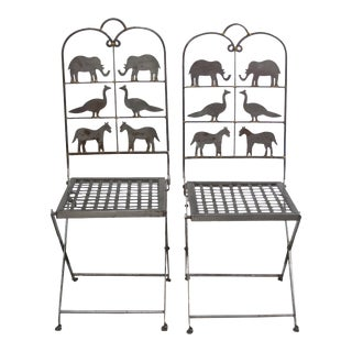 Whimsical 1980's Animal Cut-Out Steel Chairs - A Pair For Sale