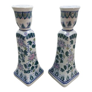 Chinoiserie Candle Holders, A Pair