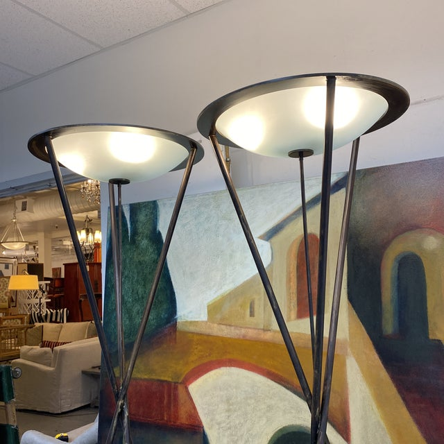 Late 20th Century Tripod Floor Lamps - a Pair For Sale - Image 12 of 13