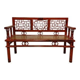 Distress Red Rattan Insert Bench For Sale
