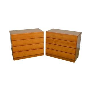 Danish Modern Pair of Teak 4 Drawer Chests Single Dressers For Sale