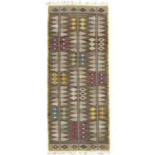Vintage Swedish Flat Weave Runner- 5′2″ × 12′2″ For Sale
