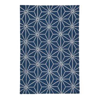 """Jaipur Living Haige Indoor/ Outdoor Geometric Navy/ White Area Rug - 7'6"""" X 9'6"""" For Sale"""