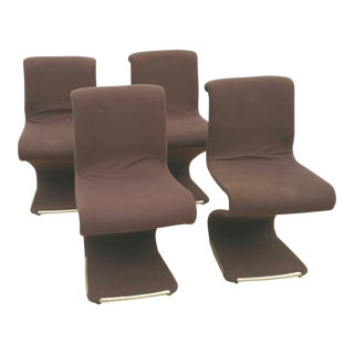 """Gastone Rinaldi """"Z"""" Brown Upholstered Dining Chairs - Set of 4 For Sale"""