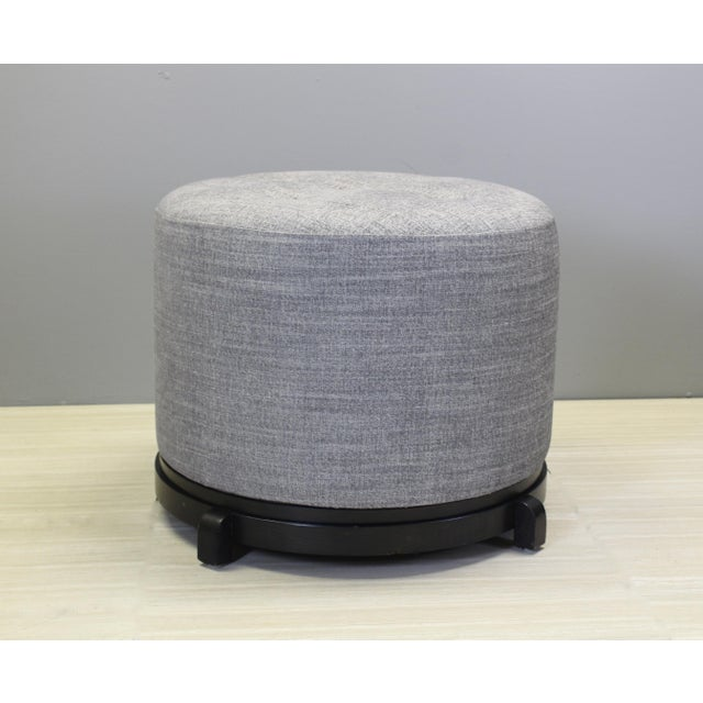 Mid-Century Modern Mid Century Chenille Ottoman on Black Base For Sale - Image 3 of 5