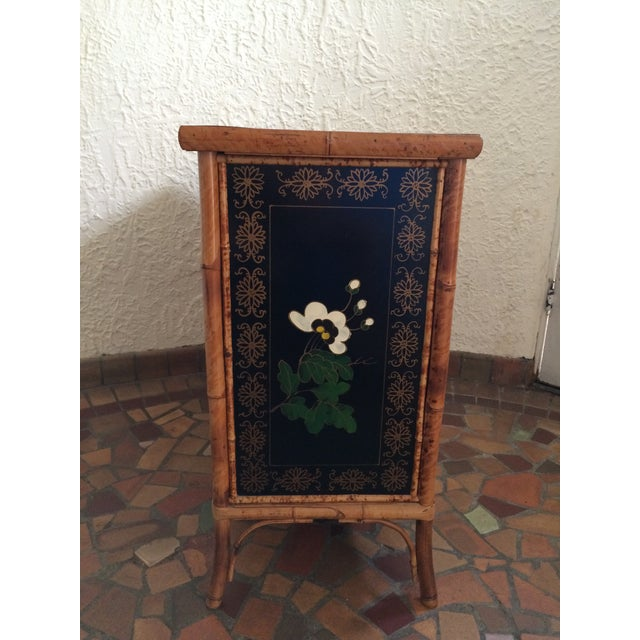 1960s Vintage 1960s Painted Bamboo Cabinet For Sale - Image 5 of 9