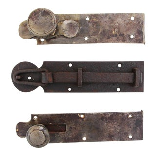 18th Century Wrought Iron Door Latches - Set of 3 For Sale