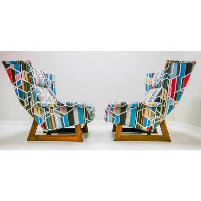 Mid-Century Modern Adrian Pearsall Wingbacks W/ Ottoman - Set of 3 For Sale - Image 3 of 8