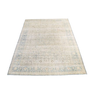 Antique Persian Distressed Veramin Over Dye Rug - 8′7″ × 12′7″ For Sale