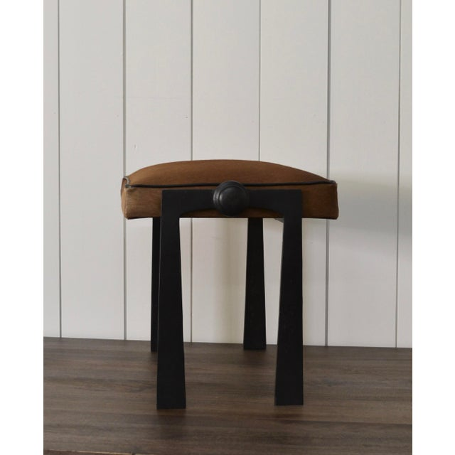 Modernist Iron and Leather Hair on Hide Stool For Sale - Image 4 of 8