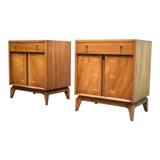 Mid-Century Nightstands With Butterfly Inlays - a Pair For Sale