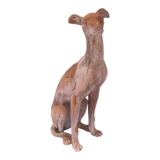 A Vintage Life Size Ceramic Dog Statue Weathered Patina C1970 Indoor Use For Sale