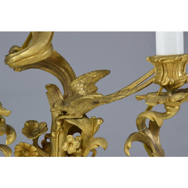 French Pair of Antique Louis VXI Ormolu Electrified Candelabras For Sale - Image 9 of 13