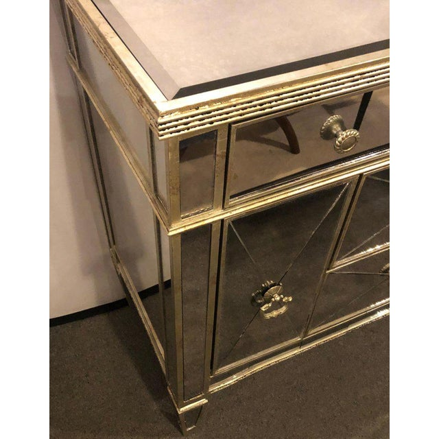 1960s Mirrored Hollywood Regency Style Large Nightstand or Commode For Sale - Image 5 of 11