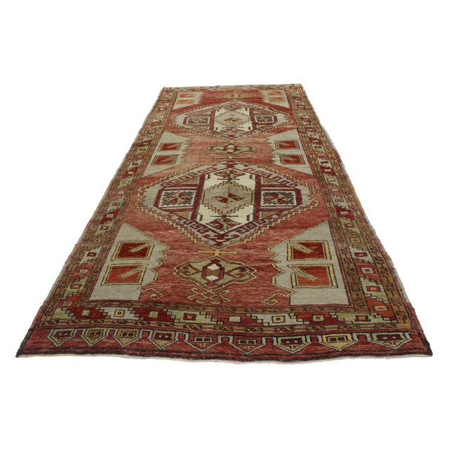 Mid-Century Modern Vintage Turkish Oushak Gallery Rug, Wide Hallway Runner - 05'00 X 12'00 For Sale - Image 3 of 5