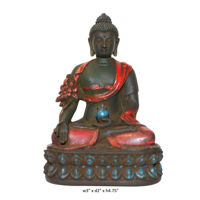 Crystal Glass Color Paint Small Chinese Sitting Buddha Statue For Sale In San Francisco - Image 6 of 6