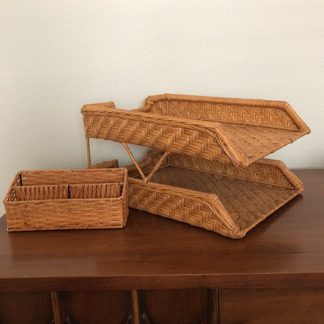 Wicker Boho Chic Wicker Desk Set - 2 Pieces For Sale - Image 7 of 7
