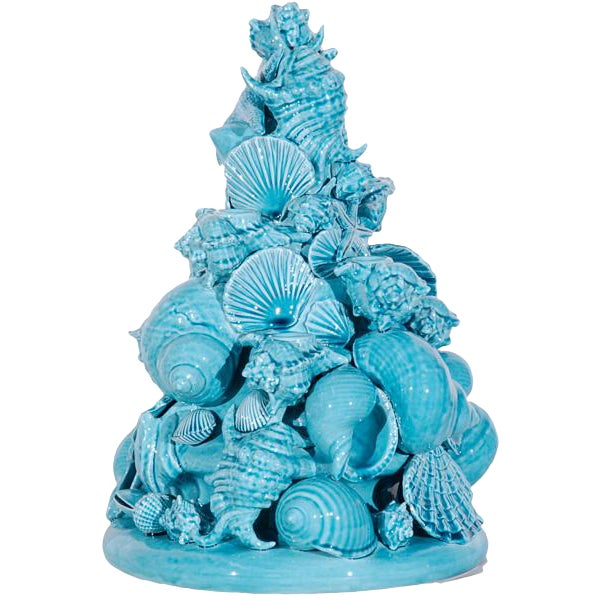 Italian Turquoise Ceramic Centerpiece For Sale