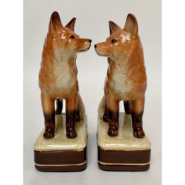 Metal Staffordshire Style Fox Bookends – a Pair For Sale - Image 7 of 12