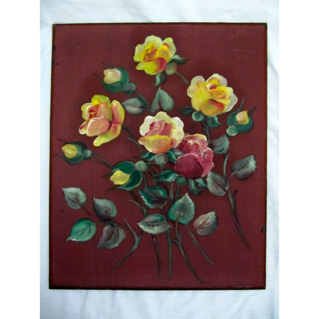 1940s 1940's Still Life Floral Paintings on Silk-3 Pieces For Sale - Image 5 of 8