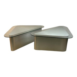 Modern Aluminum Triangular End Tables For Sale