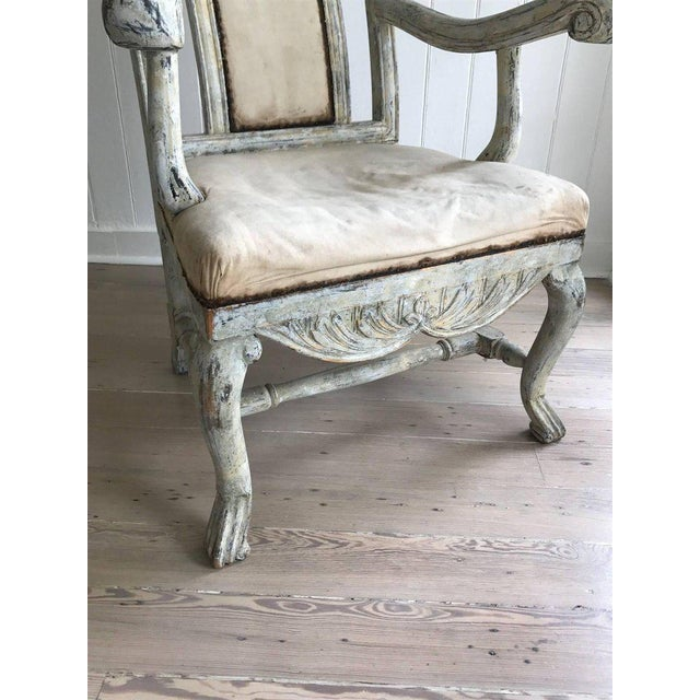 Late 18th Century Swedish Baroque Armchair in Original Paint For Sale - Image 5 of 9