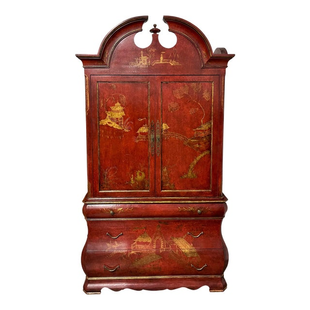 Huge 18th C Style Red Chinoiserie Decorated Dutch Bombay Linen Press For Sale