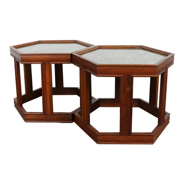 Brown Saltman Hexagonal End Tables - A Pair - Image 1 of 10