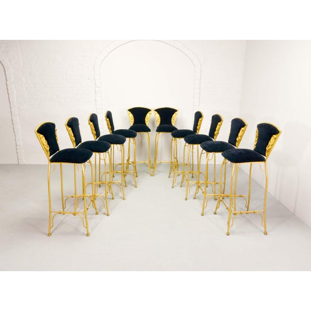 Mid-Century Italian Design Set of Gilded Forged Steel 'GOLD COBRA' Bar Stools, Set of Ten, 1970s For Sale - Image 4 of 13