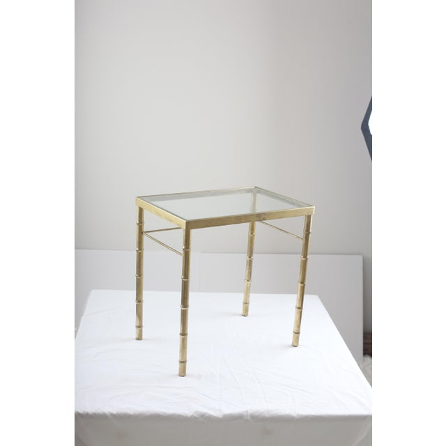 Faux Bamboo Brass & Glass Nesting Tables - Pair - Image 3 of 8