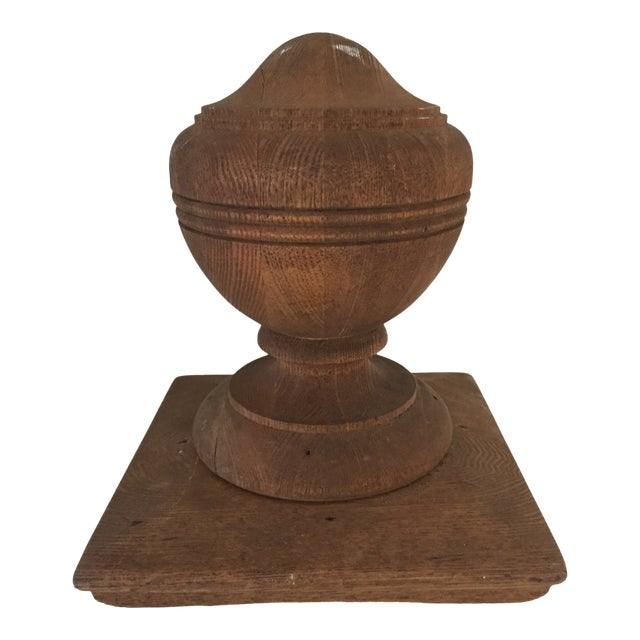 Antique Walnut Banister Turned Top Ornament or Newel Post Top Excellent For Sale