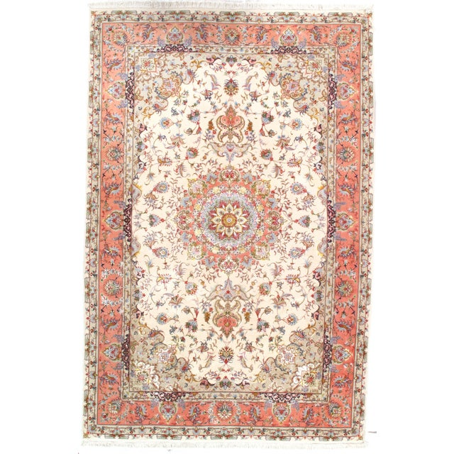 "Islamic Pasargad Persian Tabriz Silk & Korker Wool Rug - 6'6"" X 9'9"" For Sale - Image 3 of 3"