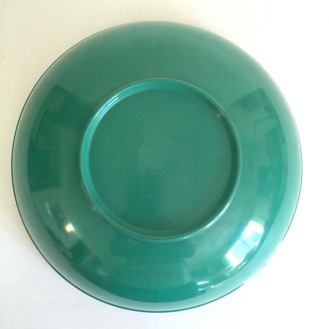 Vintage Mid Century Modern Melmac Melamine Extra Large Teal Green Round Serving Bowl For Sale - Image 12 of 13
