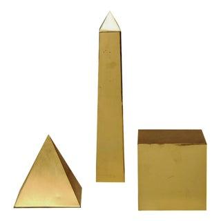 Sarreid Ltd Mid-Century Italian Brass 3-D Objects - Set of 3 For Sale