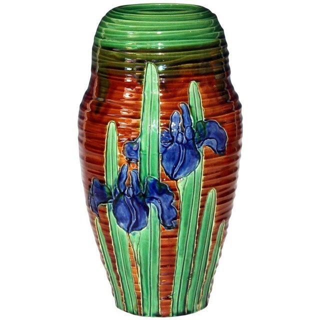 Awaji Pottery Art Nouveau Carved Iris Vase For Sale - Image 11 of 11