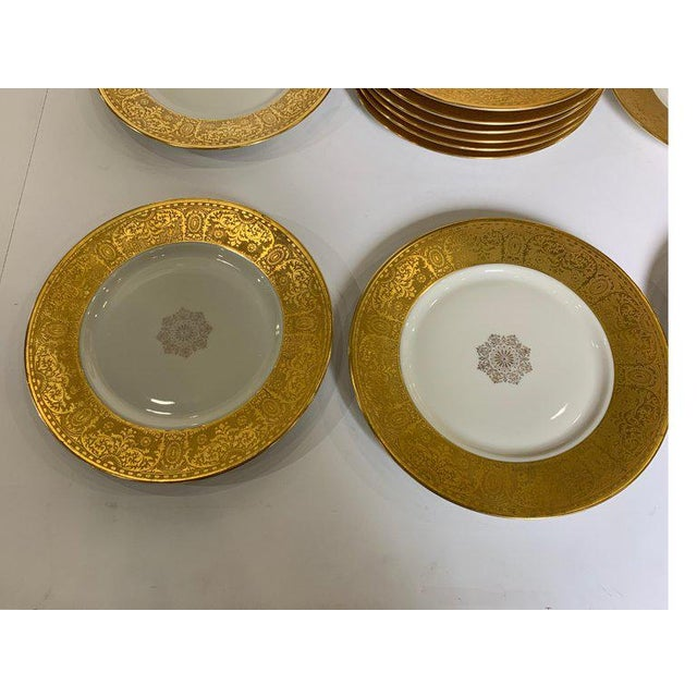 Wide Gold Bordered Service Plates - Set of 12 For Sale - Image 10 of 12