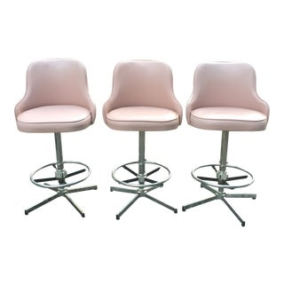 Vintage Mid-Century Chrome Vinyl Mauve Swivel Bar Stools - Set of 3