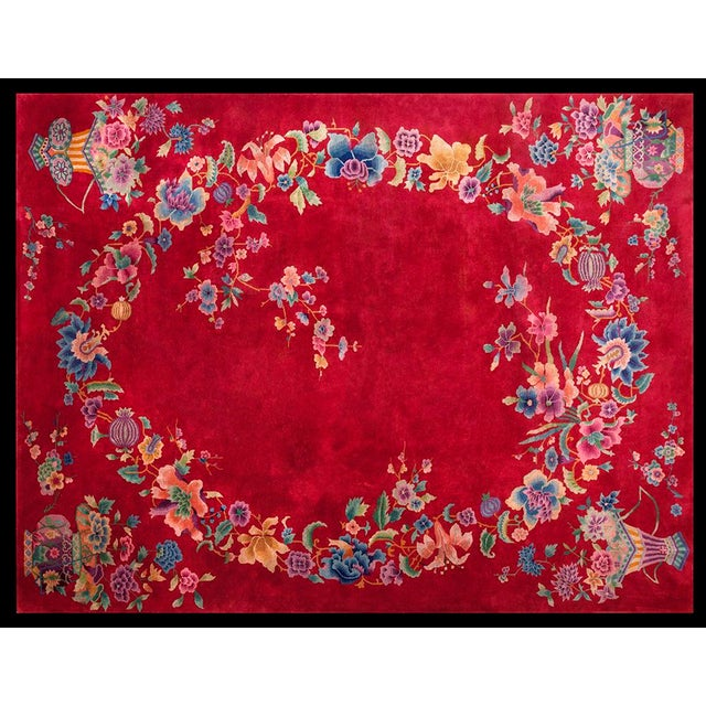 "1930s Chinese Art Deco Rug - 8'9""x11'6"" For Sale - Image 10 of 10"