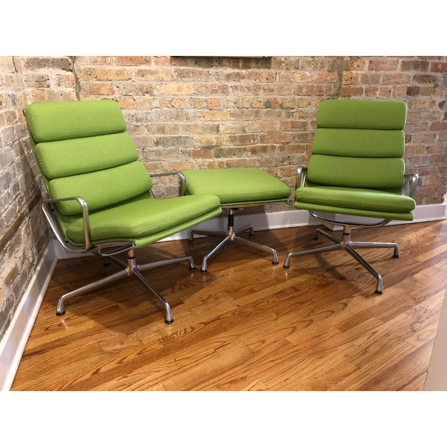 Green Herman Miller Eames Neon Green Pad Lounge Chairs With Ottoman - a Pair For Sale - Image 8 of 8