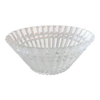 Late 20th Century Contemporary Oval Cut Decorative Crystal Bowl