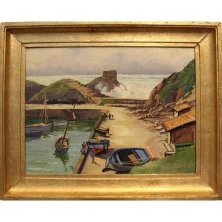 20th Century French Brittany Fishing Port Oil on Panel Painting Signed Berthier For Sale
