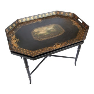 1900s French Ebony Tray Table w/ Scenic Painting For Sale