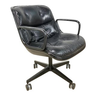 Mid Century Classic Leather Knoll Office Lounge Chair by Charles Pollock For Sale