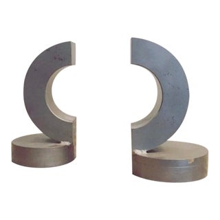 Forged Steel Mid Century Bookends - a Pair For Sale