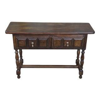 Vintage Navarro Argudo Solid Oak Spanish Console Hall For Sale