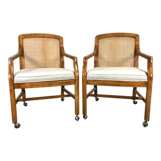 Mid Century Modern Rolling Cane Armchairs by Drexel - a Pair For Sale