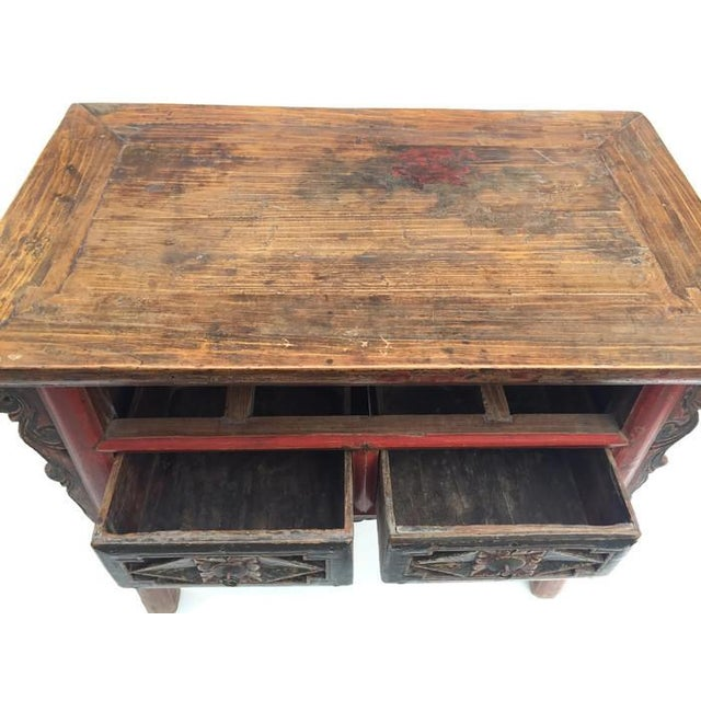 Antique Tibetan Altar Table, Console Chest featuring Hand Painted Drawers and amazing carved wood accents. 3 Drawer...