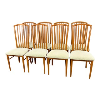 Set of 8 Italian High Back Dining Chairs For Sale