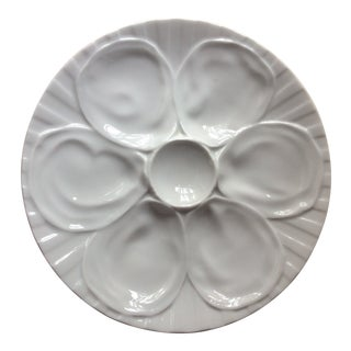 Vintage French Porcelain Oyster Plate, 1950s For Sale