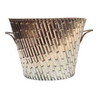 1980s Hollywood Regency Silver Plate Faux Bamboo Wine Cooler